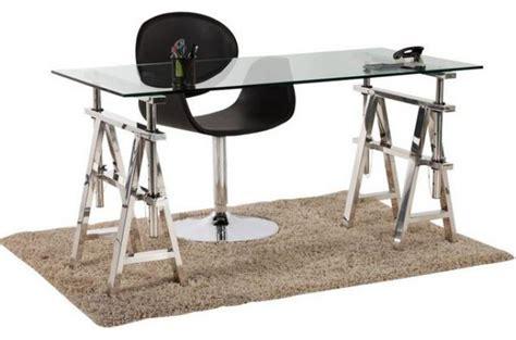 bureau acier et verre bureau verre et acier pas cher