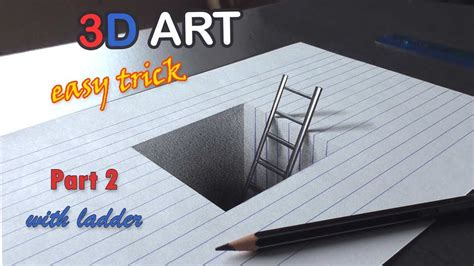 easy drawing   hole  ladder  trick art  kids