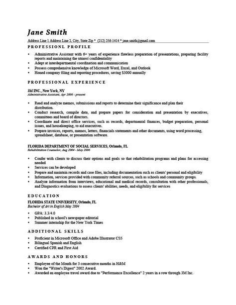 Professional Profile Resume Exles by Resume Template Washington Black Resumes Professional