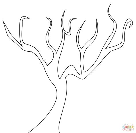 tree trunk and roots template bare tree coloring page coloring home