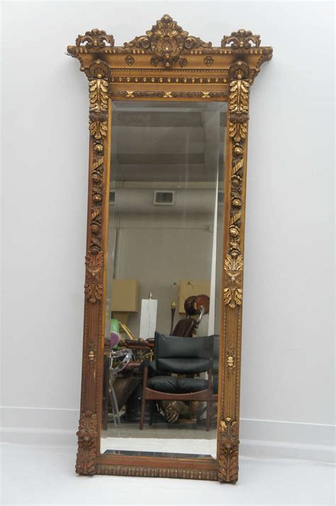 gilded floor mirror 1800 s long gold gilded floor or mantle mirror at 1stdibs