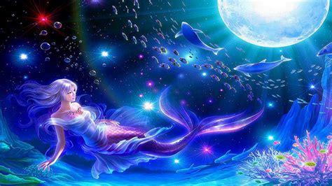 Blue Magical Wallpaper Hd by Blue Mermaid Moon Hq Wallpaper Hd Desktop