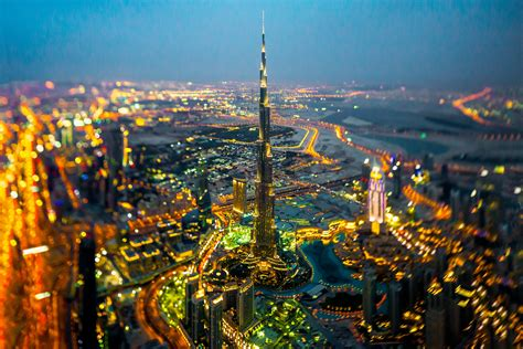 dubai cityscape city lights tilt shift hd wallpaper