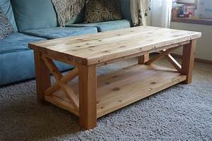 Ana white rustic x coffee table in cedar diy projects for Rustic cedar coffee table