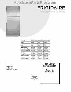 Parts For Frigidaire Fftr2021qw1  Cover Sheet Parts