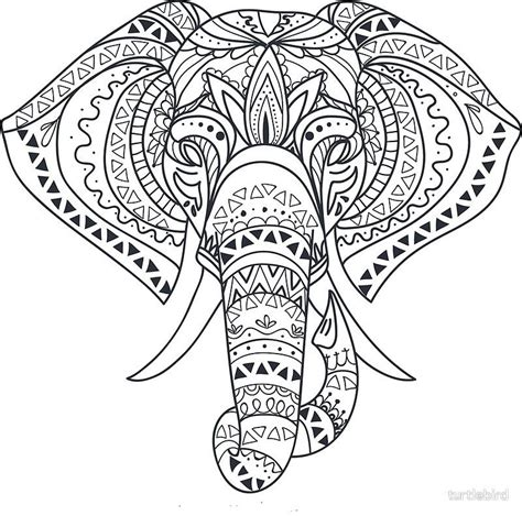 tribal tattooed elephant outline mandala