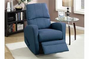 Blue Fabric Swivel Recliner Steal A Sofa Furniture