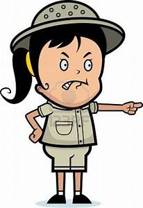 A Cartoon Girl Explorer With An Angry Expression | Free ...