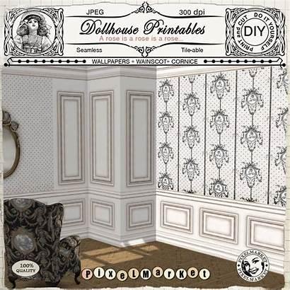 Dollhouse Printable Wainscot Wallpapers Miniature Wainscoting Bathroom