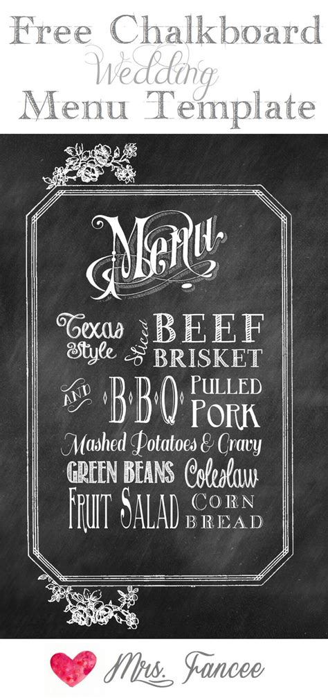 chalkboard wedding menu  template gardens potato