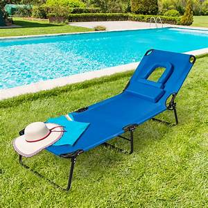 Gymax, Folding, Chaise, Lounge, Chair, Bed, Adjustable, Outdoor, Patio, Beach, Camping, Recliner