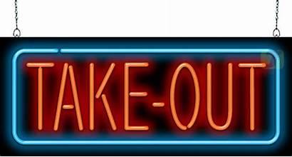 Take Sign Neon Restaurant Open Diner Order
