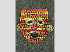 3rd grade paper mache mosaic ancient Mayan mask; lesson by