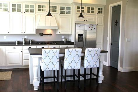 stenciled bar stools transitional kitchen benjamin