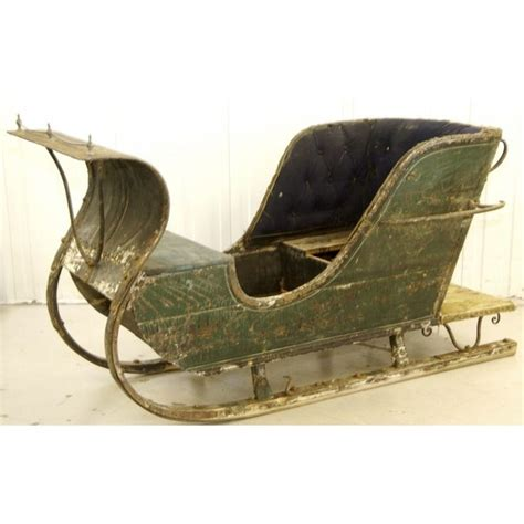 1800s real swedish antique green single sleigh sleds