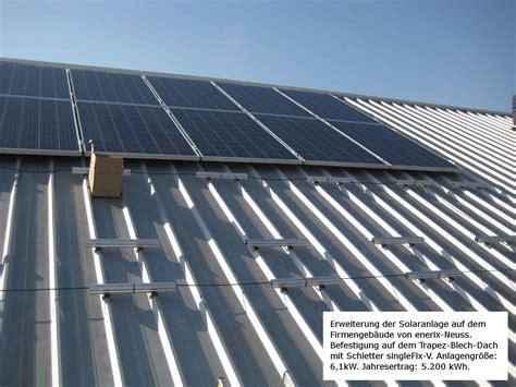 trapezblech dach montage solaranlage auf trapezblech dach