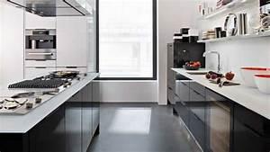 cuisine noir plan de travail blanc With plan de travail cuisine blanc laque