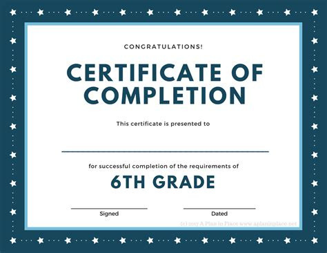 6th Grade Graduation Certificate Template Printed Certificates A Plan In Place