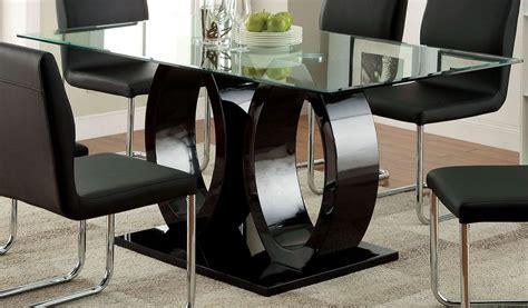 rectangular pedestal dining room table lodia i black glass top rectangular pedestal dining room