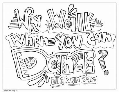 Dance Quotes Coloring Quote Doodles Words Classroomdoodles
