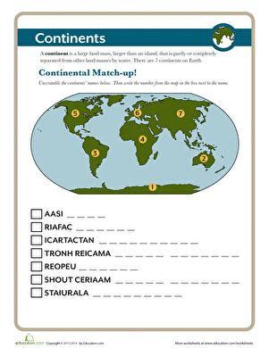 continents worksheet educationcom