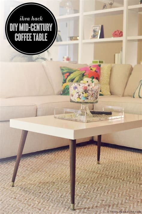 diy retro mid century modern coffee table hacked from a white lacquered ikea lack coffee table