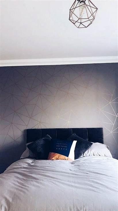 Charcoal Metallic Shimmer Zara Copper Bedroom Feature