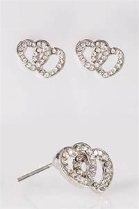 Silver Heart Shaped Diamante Stud Earrings