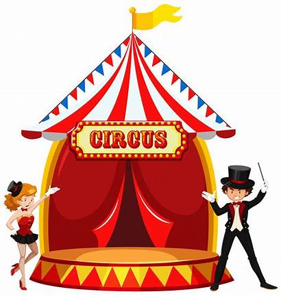 Stage Circus Vector Showing Clipart Clown Perform