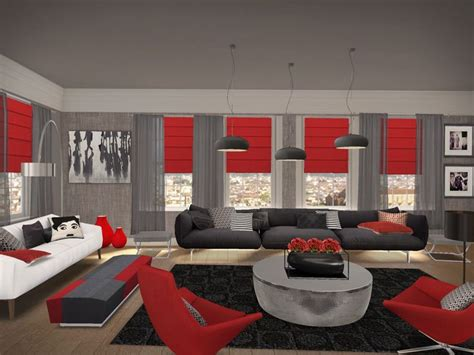 Awesome Red Black Living Room