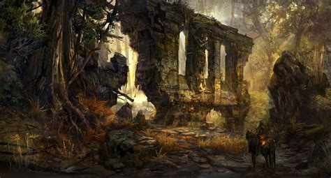 forest ruins   art concept art lost mines