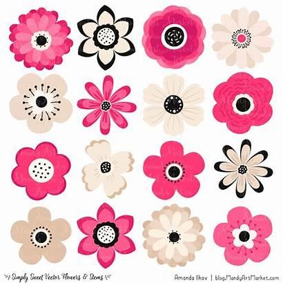 Flower Pink Clipart Flowers Dark Simple Vector