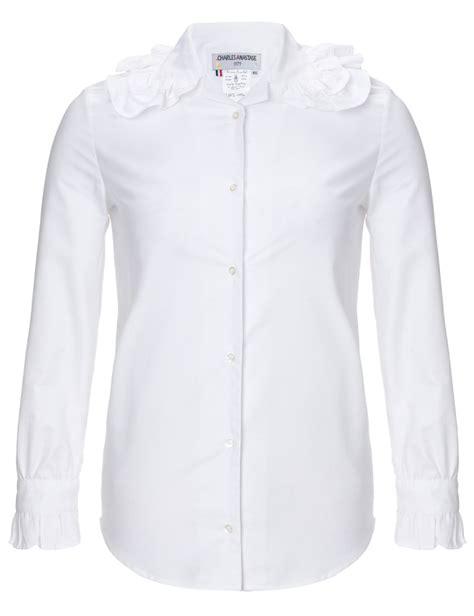white cotton blouse charles anastase white cotton ruffle collar blouse in