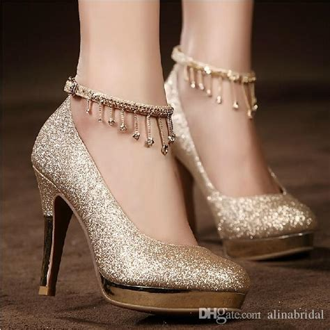 Wedding High Heels by 2017sparkling Golden Lace Up Wedding Bridal Shoes Crystals