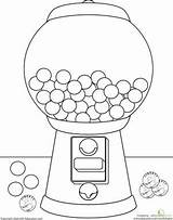 Gumball Machine Coloring Drawing Worksheets Template Gum Bubble Pages Worksheet Education Para Colors Kindergarten Sheets Candy Theme Learning Gumballs Crafts sketch template
