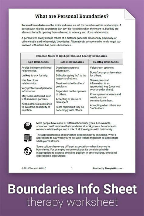 boundaries info sheet worksheet therapy worksheets