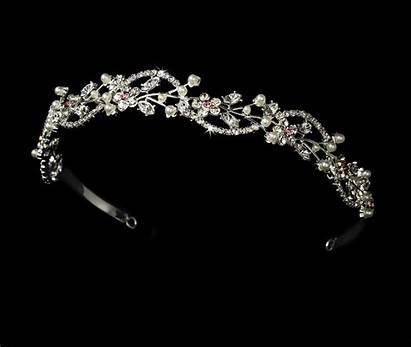 Tiara Headband Crystal Pearl Floral Bridal Pink