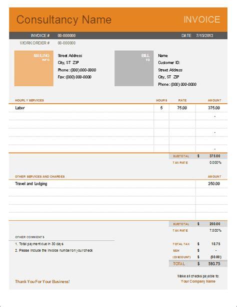 consultant invoice template  excel
