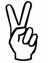 Peace Coloring Hand Sign sketch template