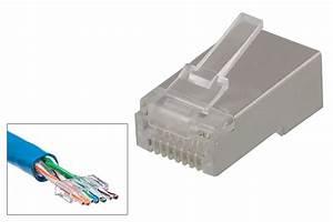 Rj45 Cat 6 Stp Modular 8p8c Connector  Incl  Plastic Guide