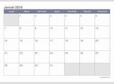 Calendrier janvier 2019 à imprimer iCalendrier
