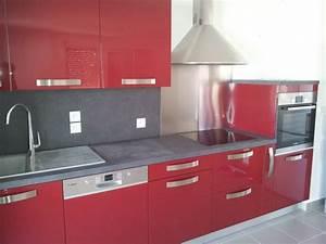 Meuble Cuisine Rouge Laqué : deco cuisine rouge laqu maison et mobilier ~ Teatrodelosmanantiales.com Idées de Décoration
