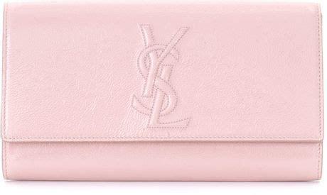saint laurent belle du jour clutch bag  pink lyst