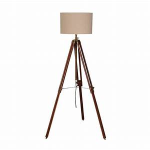 wooden tripod lamp in two colours by out there interiors With wooden tripod floor lamp the range
