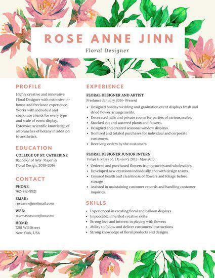 Floral Designer Resume by Colorful Floral Resume Resume Resume