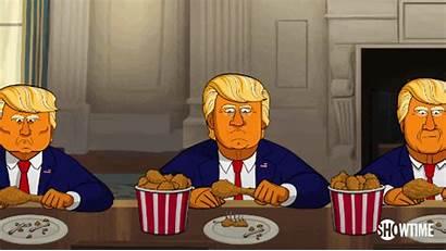 Cartoon Eating Chicken Fried Trump Eat President