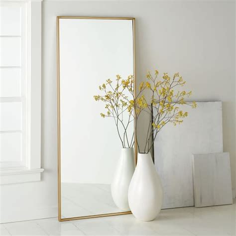 floor mirror yellow metal framed floor mirror west elm