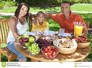 African American Family Eating Food Outside Royalty Free ...