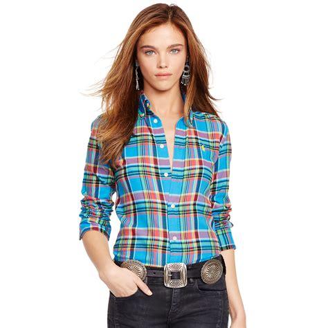polo ralph plaid cotton twill shirt in blue lyst