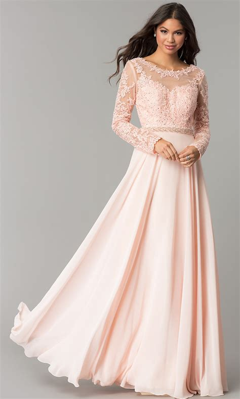 A Line Chiffon Long Sleeved Embroidered Prom Dress
